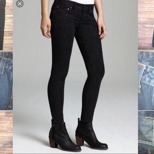 Free People 31 Jeans Vtg Jacquard Skinny Black R77